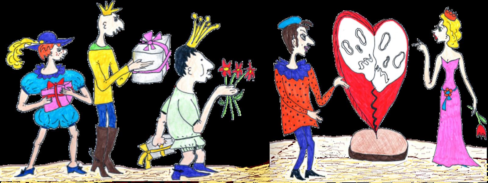 Авторский рисунок - подарки от женихов для принцессы