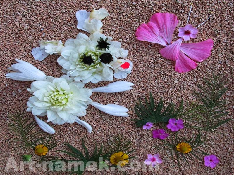 Фото-картина из цветов и листьев - собачка и бабочка.