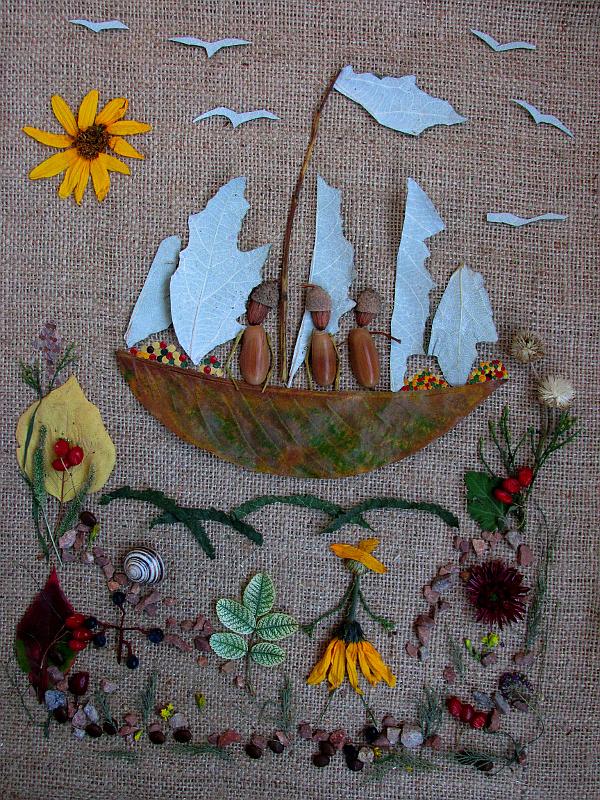 Картинка из осенних растений — девушка встречает груженый корабль.