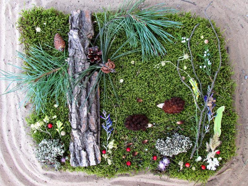Картинка из лесных растений — парочка ежиков.