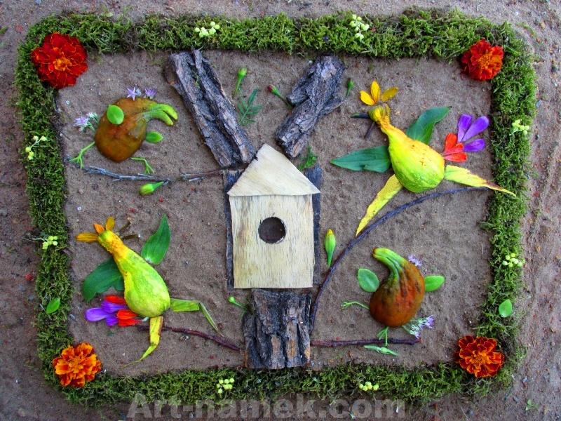 Флористическая картинка из овощей и фруктов, коры дерева.