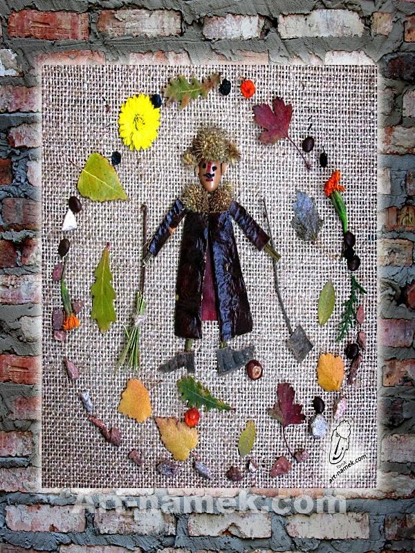 Фото-картина из листьев и плодов, распечатанная на пенокартоне
