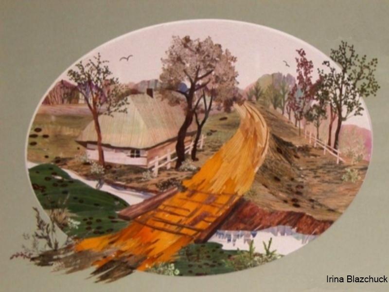 Картина ошибана - пейзаж из цветочных лепестков.