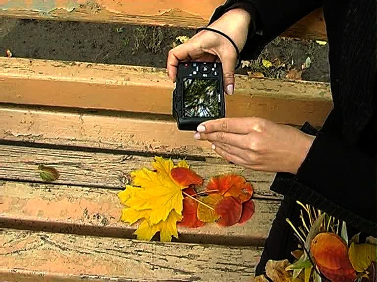 Фотографирование мини-композиции из осенних листьев.