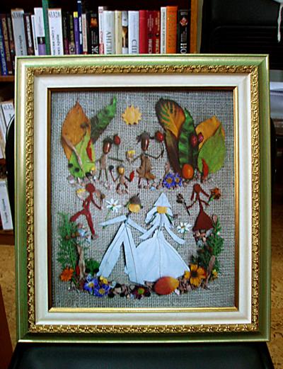Изображение свадьбы из растительного материала