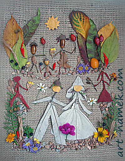 Жених и невеста из растительного материала