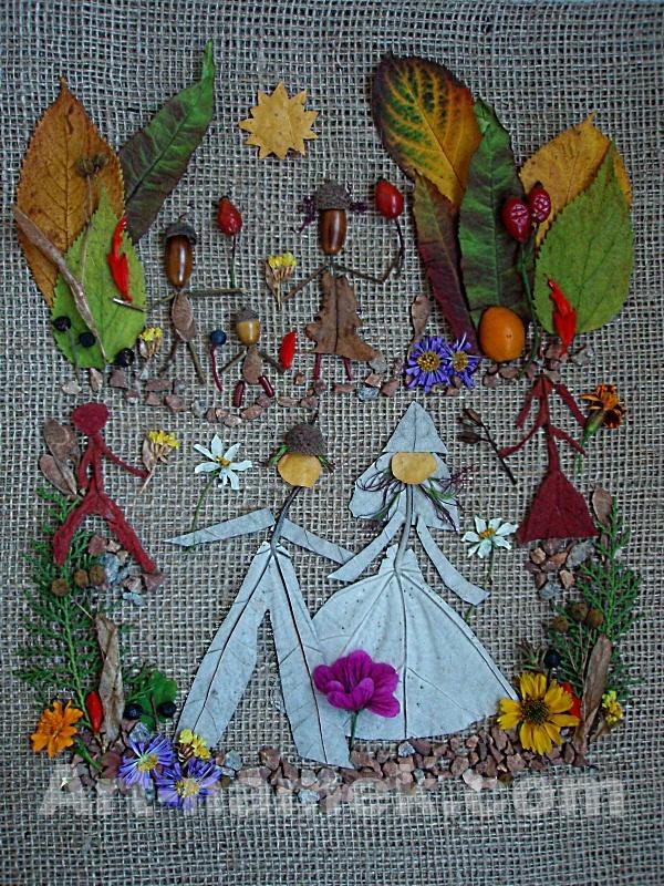 Фотокомпозиция из осенних литьев — свадьба лесных человечков.