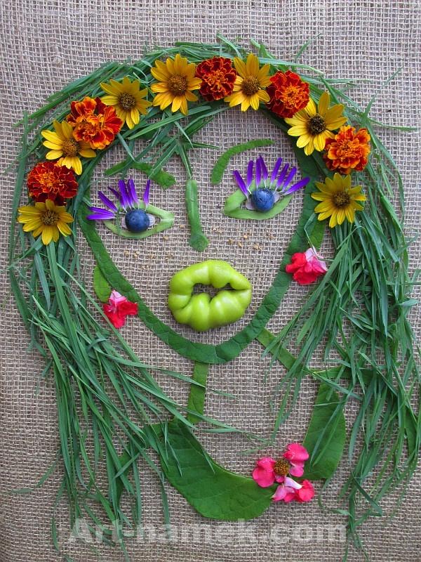 Девушка выложенная из растительного материала