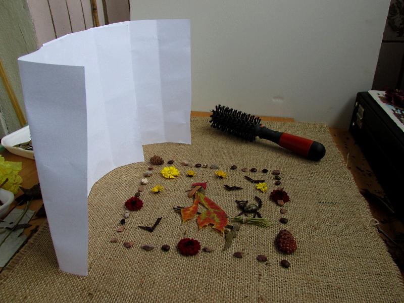 Процесс подготовки к съемке фото-картины из растений.