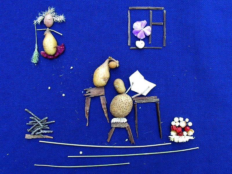 Картинка из природных материалов — картофельная семья.